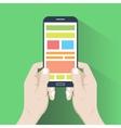 smartphone in hands flat design vector image vector image