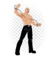 strongman breaking chains vector image vector image
