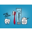Teeth cartoons blue vector image vector image