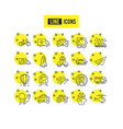 transport line icons set of taxi helicopter and vector image