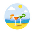 two glasses martini on a sunny beach vector image vector image