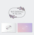 wedding salon logo and identity flower vector image vector image