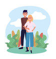 woman and man couple pregnant with plants vector image vector image