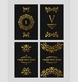 set of floral logo frame and monogram golden on vector image