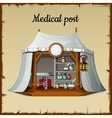 Tent medical facility on a beige background vector image