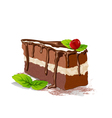 cake with cream and cherry on a white background vector image