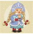 Snow Maiden in blue fur coat holds a lamb vector image