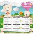 2017 Calendar Starts Sunday Cute Dogs In Backyard vector image vector image