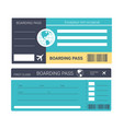 airplane ticket or boarding pass isolated icons vector image