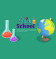 back to school poster with scientific equipment vector image vector image