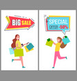 big sale and special offer only for womens goods vector image vector image