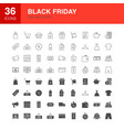 black friday line web glyph icons vector image