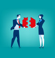 businessman and woman couple with house jigsaw vector image