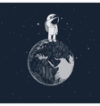 Cartoon little astronaut standing on the Earth vector image vector image