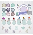 Character set of the new year snowflake snowman vector image vector image
