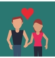 couple holding hands with cartoon heart image vector image vector image
