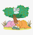 cute triceratops with dino eggs in the bushes vector image