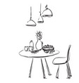 dining table with glasses and flower sketch vector image