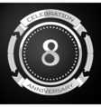Eight years anniversary celebration with silver vector image vector image