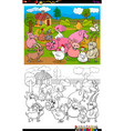 farm animals characters group color book page vector image vector image