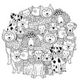Funny dogs circle shape pattern for coloring book