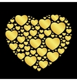 golden hearts on black vector image