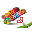 Grand Opening 3D Colorful Title with Scissors on vector image
