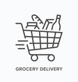 grocery delivery line icon outline vector image