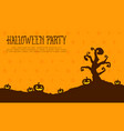 halloween party card pumpkin landscape vector image vector image