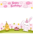 Happy Birthday card with a bunny and bird vector image vector image