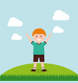 happy cartoon boy raising hands vector image