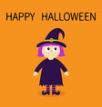 happy halloween girl wearing witch costume curl vector image vector image