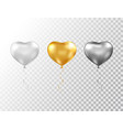 helium heart balloons set isolated on transparent vector image