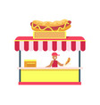 hot-dog stand colorful card vector image