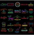 icons of neon store signs vector image