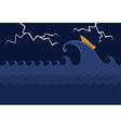 Little Boat in the Stormy Sea vector image