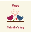 Lovers and happy birds with hearts vector image