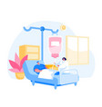 man character lying in clinic department chamber vector image