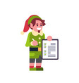 man elf santa claus helper hold checklist survey vector image vector image