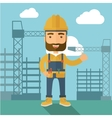 Man standing infront of construction crane tower vector image