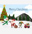 merrry christmas snow scene vector image