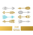 metallic temporary tattoos gold silver and blue vector image vector image