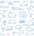 monochrome seamless pattern with pets drawn with vector image