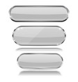 oval white 3d buttons with chrome frame oval vector image vector image