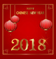 postcard chinese new year lanterns and golden vector image