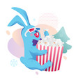 rabbit with popcorn sticker design vector image vector image