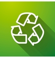 Recycling white icon with long shadow on green vector image vector image