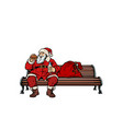 santa claus eats fast food burger park bench vector image