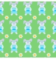 Seamless pattern of rabbits and flowers vector image