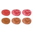 set of detailed slide fresh ham and grilled salami vector image vector image